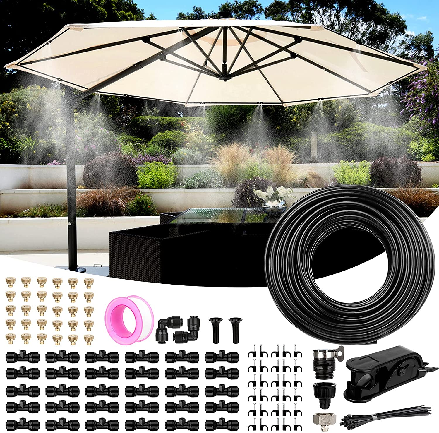 Misting Cooling System, Mist System for Patio with 82 FT(25M) PE Misting Line + 30 Mist Nozzles + 3 Faucet Adapters, Outdoor Water Mister Kit for Garden, Porch, Fan, Canopy, Backyard, Waterpark