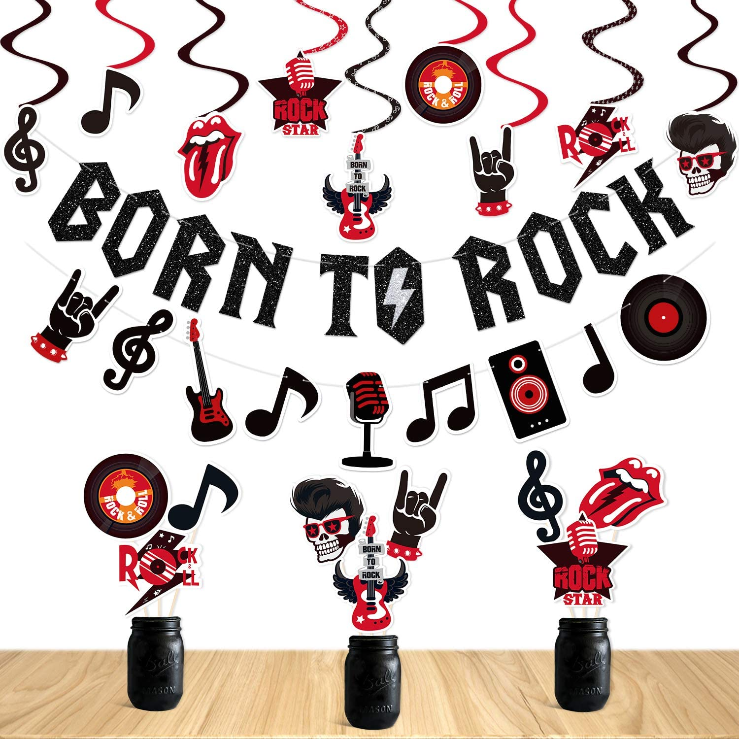 Rock and Roll Party Decorations Set Born to Rock Glitter Banner Rock and Roll Hanging Swirls Rock Star Centerpiece Sticks 1950's Rock and Roll Party Decorations Music Theme Baby 1st Birthday Party Supplies 50s 60s Rock Party Favors Record Wall Decor