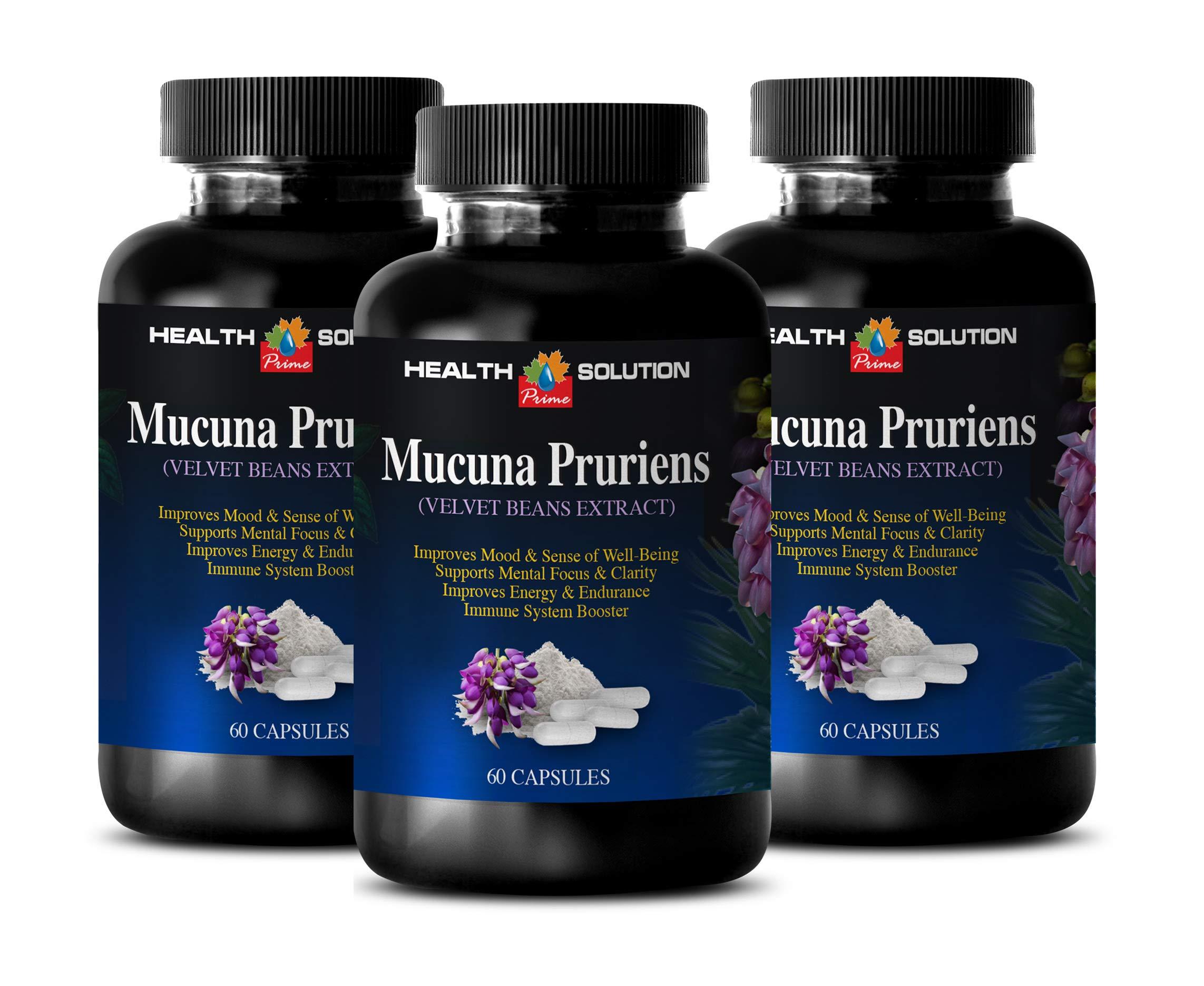 libido Booster for Men Natural - MUCUNA PRURIENS - Velvet Beans Extract - antioxidant Vitamins for Men - 3 Bottles 180 Capsules