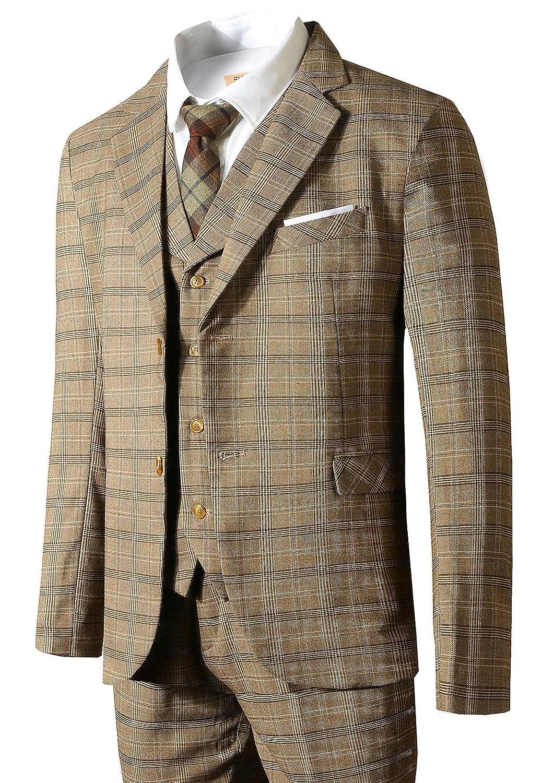 Hanayome Mens Slim Fit Suit Blazer Jacket Tux Vest /& Trousers 3-Piece Suit Set