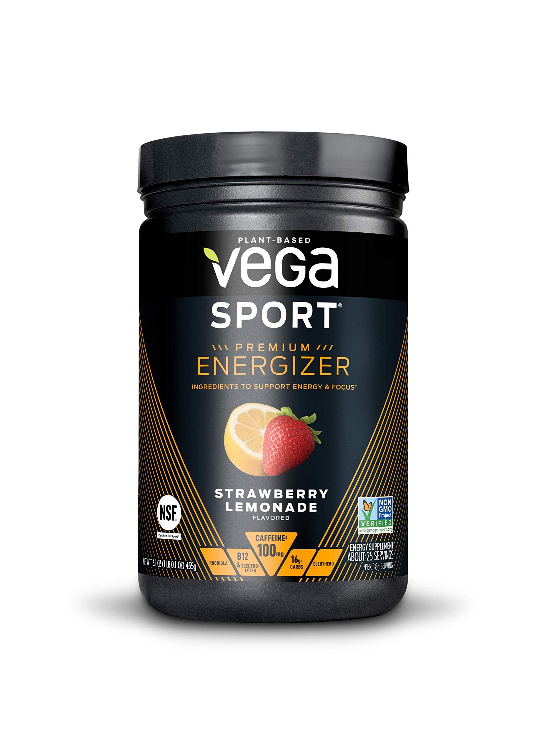 New Vega Sport Premium Energizer Strawberry Lemonade (25 Servings, 16.1 oz) - Vegan, Gluten Free, All Natural, Pre Workout Powder, Non GMO (Packaging may vary) by VEGA