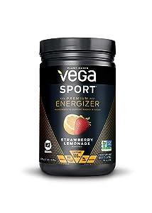 New Vega Sport Premium Energizer Strawberry Lemonade (25 Servings, 16.1 oz) - Vegan, Gluten Free, All Natural, Pre Workout Powder, Non GMO (Packaging may vary)