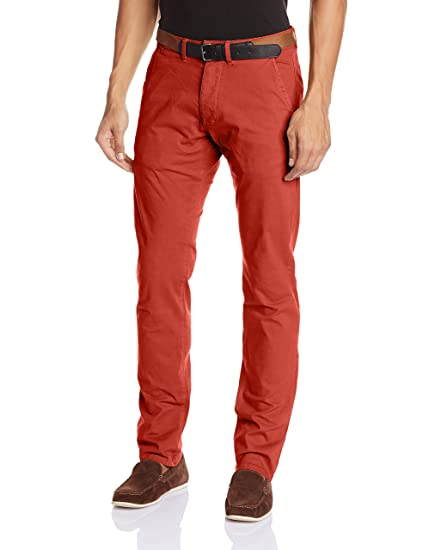 JACK & JONES Men's Slim Fit Casual Trouser (Red Clay) (5712061538587)