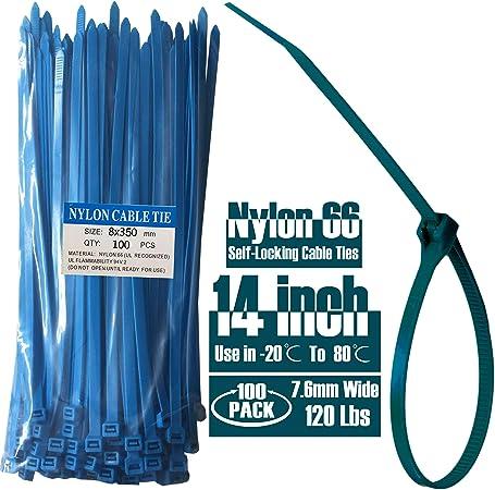 """500 Pcs 14/"""" Nylon Plastic Cable Wire Zip Tie Cord Strap Fasten Wrap 50 Lbs White"""