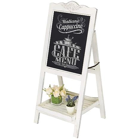 Pizarra para mensajes para tiza, pizarrón de pie grande, de madera café lavada de blanco, decoración retro – MyGift