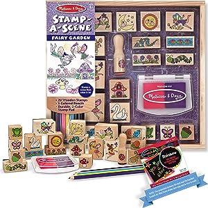 Melissa & Doug Fairy Garden: Stamp-a-Scene Wooden Stamp Set + Free Scratch Art Mini-Pad Bundle [24242]