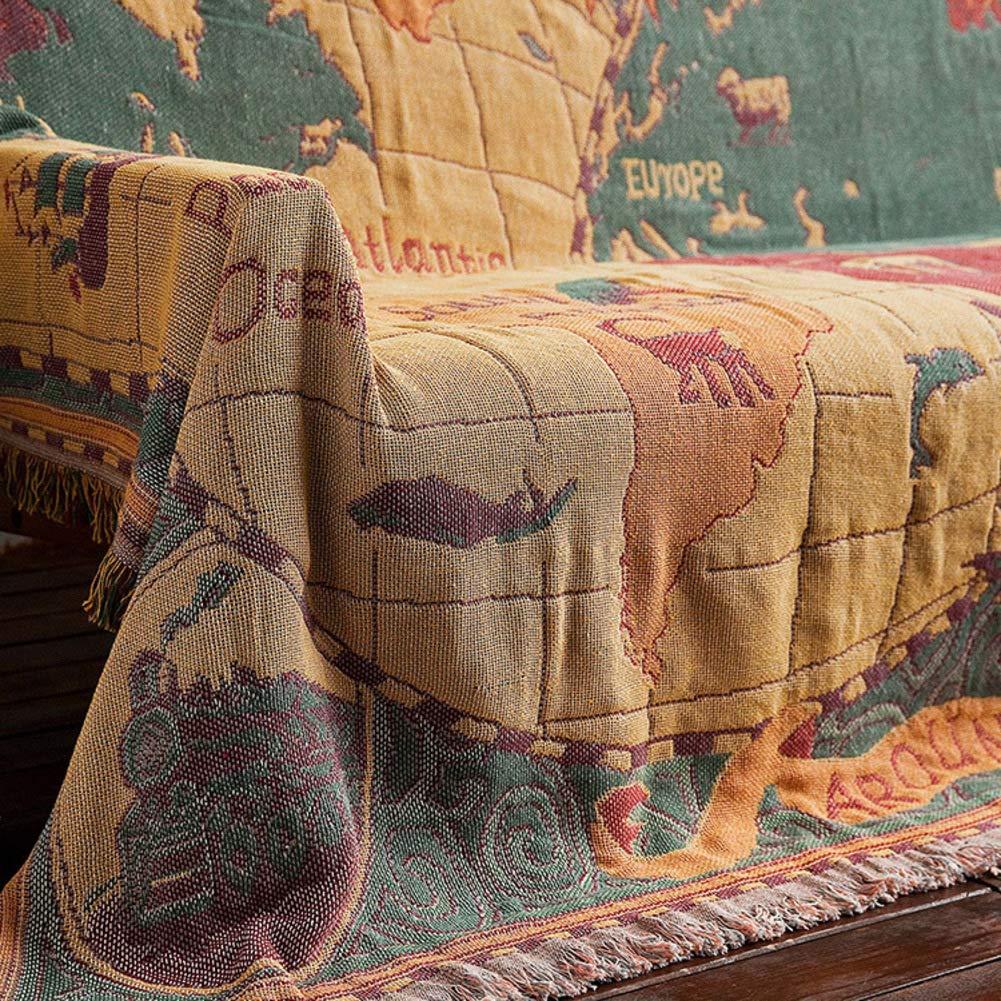 装飾 厚く ソファタオル,タペストリー 多機能 タッセル] 地図 毛布 ソファカバー ップカバー 家具保護カバー-A   B07GFN6N6K