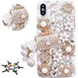STENES Bling Case Compatible with iPhone 11 - Stylish - 3D Handmade Girls Bag Pearl Pendant Flower Crystal Design…