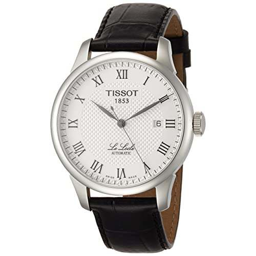 Tissot Mens Le Locle Swiss Automatic Stainless Steel and Leather Dress Watch, Color