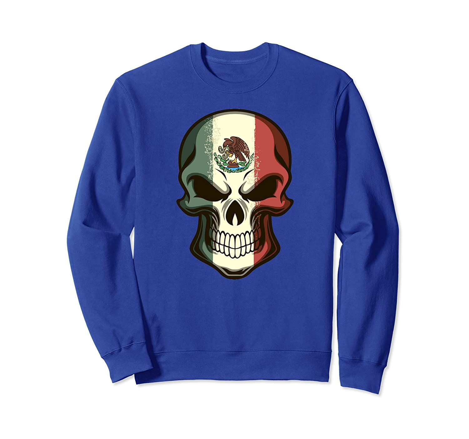 Awesome Mexico Shirts - Mexican Flag Skull Sweatshirt-mt