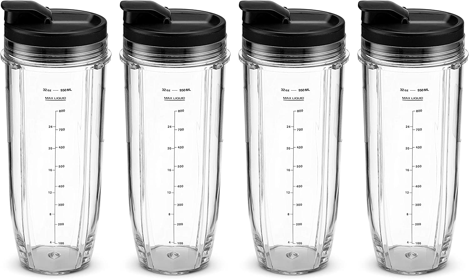 Nutri Ninja 32 oz Tritan Cups with Sip & Seal Lids. Compatible with BL480, BL490, BL640, BL680 Auto IQ Series Blenders (Pack of 4)