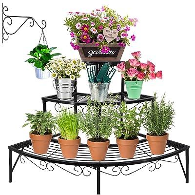 ZEETOON 3 Tier Plant Stand Set Flower Pot Shelf with Hanging Bracket Hangers, Corner Planters Display Holders Metal Stair Plants Arrangement Rack Decor for Indoor Outdoor Garden Use, Black : Garden & Outdoor