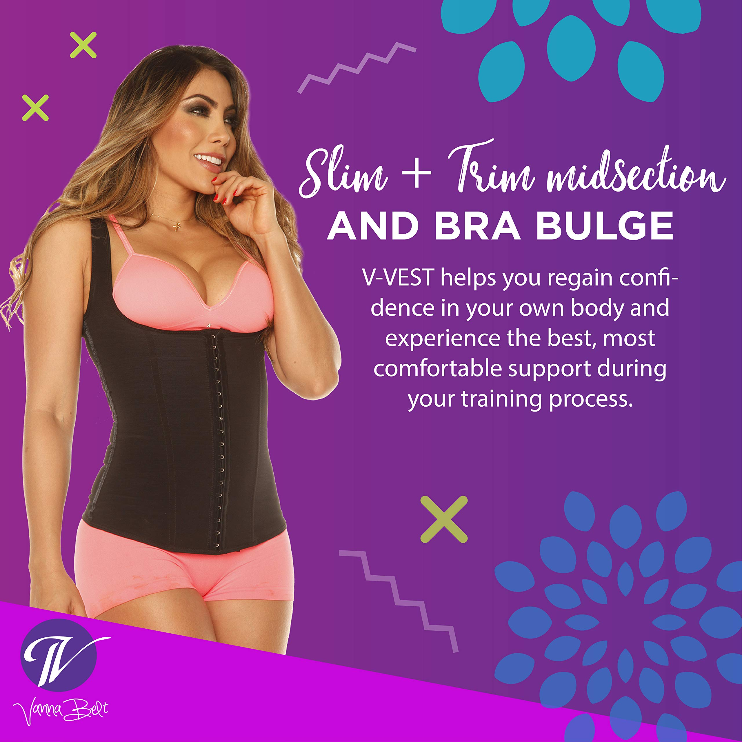 Vanna Belt Waist Trainer V-VEST Waist and Back Trimmer - XXL - Instantly Slims Midsection 2-3 Inches While Wearing Product, Lifts and Supports Busts, Helps Correct Posture by Vanna Belt (Image #3)
