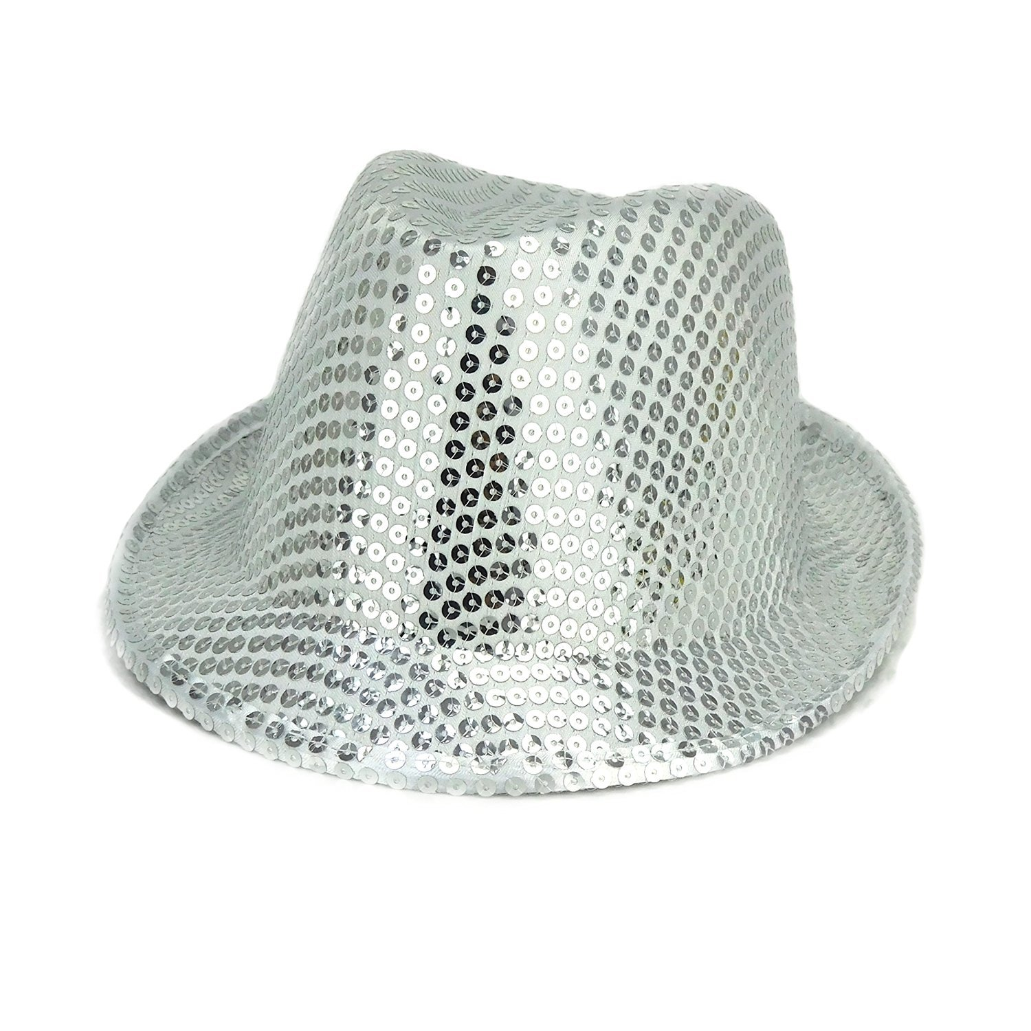 Pack Of 24 - 27cm x 14cm Silver Sequin Trilby Hats - Fancy Dress - Stag / Hen Night Accessories