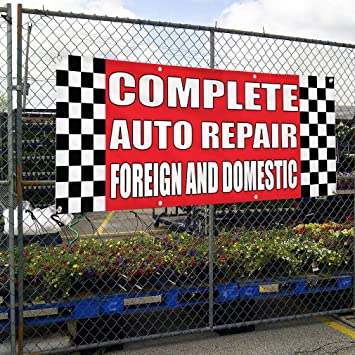 Vinyl Banner Multiple Sizes Car Repair A Outdoor Advertising Printing Automotive Outdoor Weatherproof Industrial Yard Signs 10 Grommets 60x144Inches