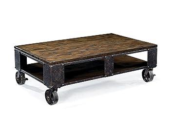 Amazon.com: Magnussen T1755 Pinebrook Distressed Natural Pine Wood  Rectangular Cocktail Table: Kitchen U0026 Dining