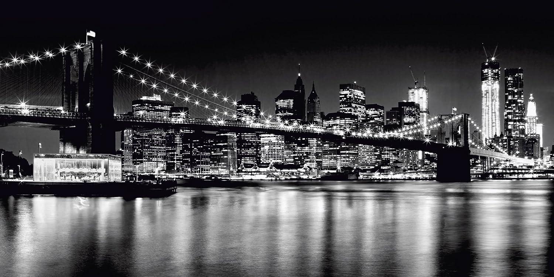 Artland Qualitätsbilder I Alu Dibond Bilder Alu Art 120 x 60 cm Städte Amerika Newyork Foto Schwarz Weiß A4CV Nächtliche Skyline Manhattan