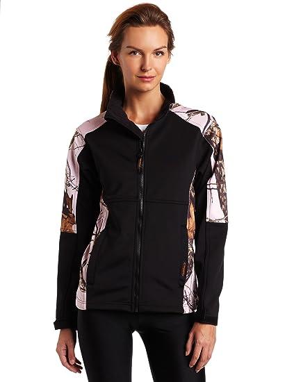 0731f9c5e681b Yukon Gear Women's Windproof Fleece Jacket (Black/Mossy Oak Pink Snow,  Small)