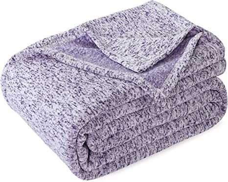 Details about  /Kawahome Summer Knit Blanket Lightweight Breathable Fuzzy Heather Jersey Thin Bl