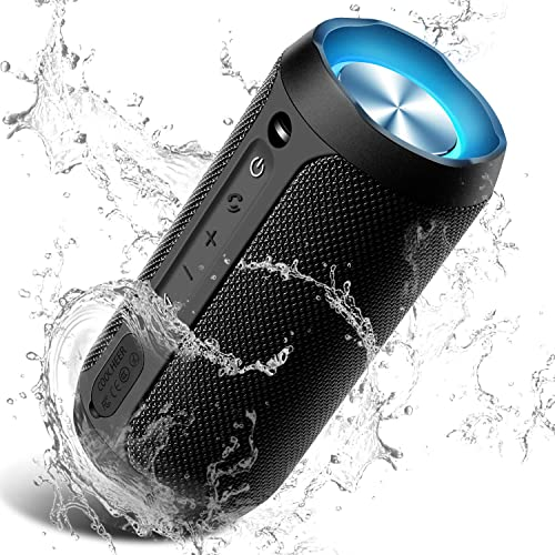 Wireless Speaker Bluetooth, COOCHEER 24W Bluetooth Portable Speaker with Party Light, IP67 Waterproof Portable Wireless Speakers for Outdoor, TWS, 20 Hour Playtime, Built-in mic,Dustproof
