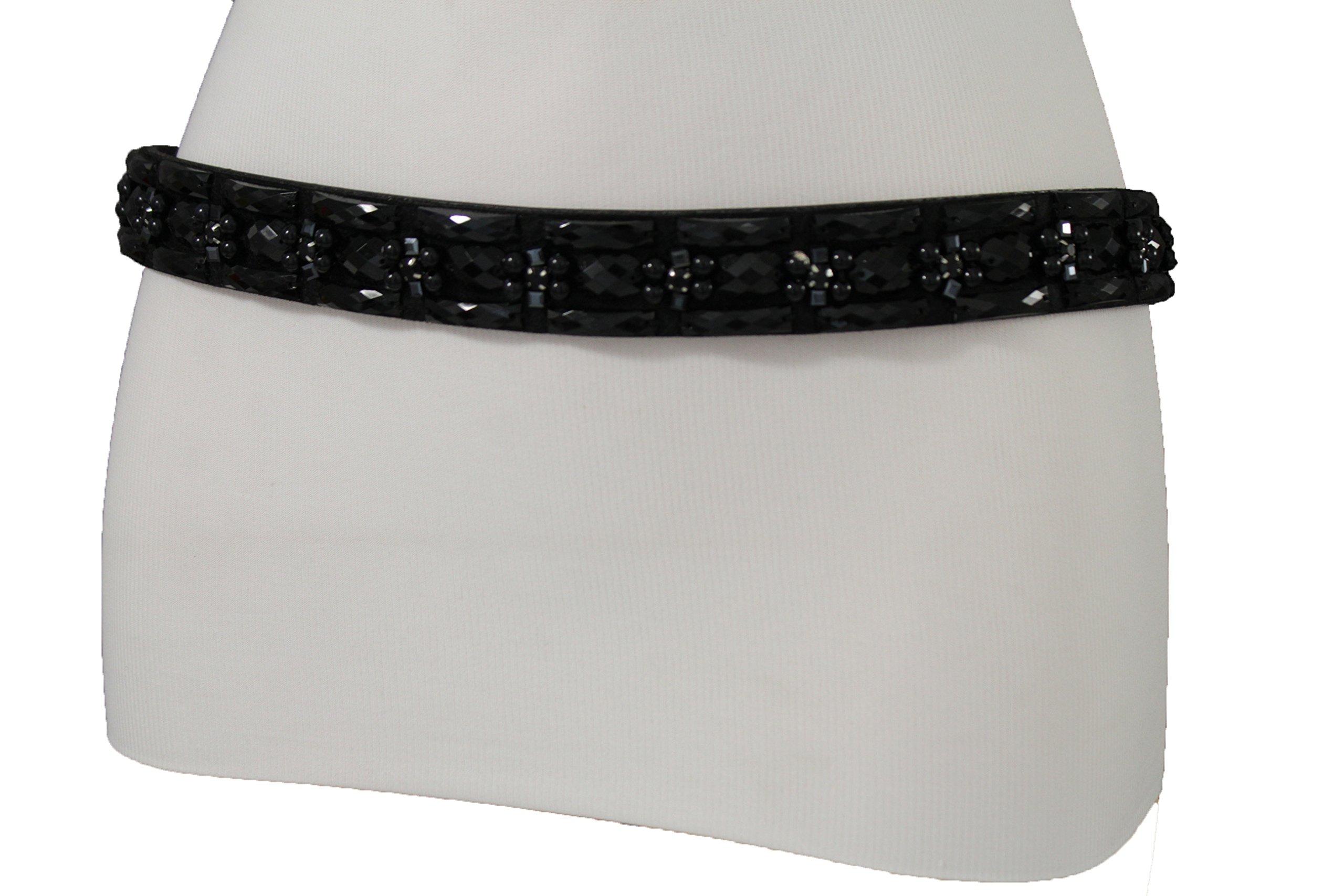 TFJ Women Elastic Fashion Belt Skinny Hip High Waist Beads Elastic Plus M L XL Black