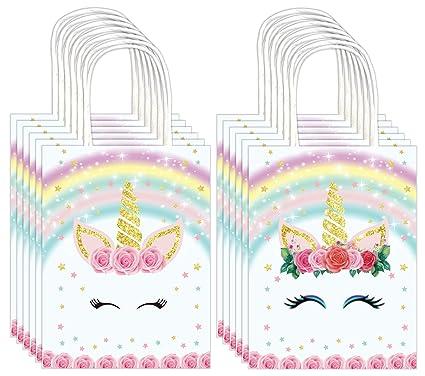 Amazon.com: QMZ Unicornio arcoíris bolsas de regalo de papel ...