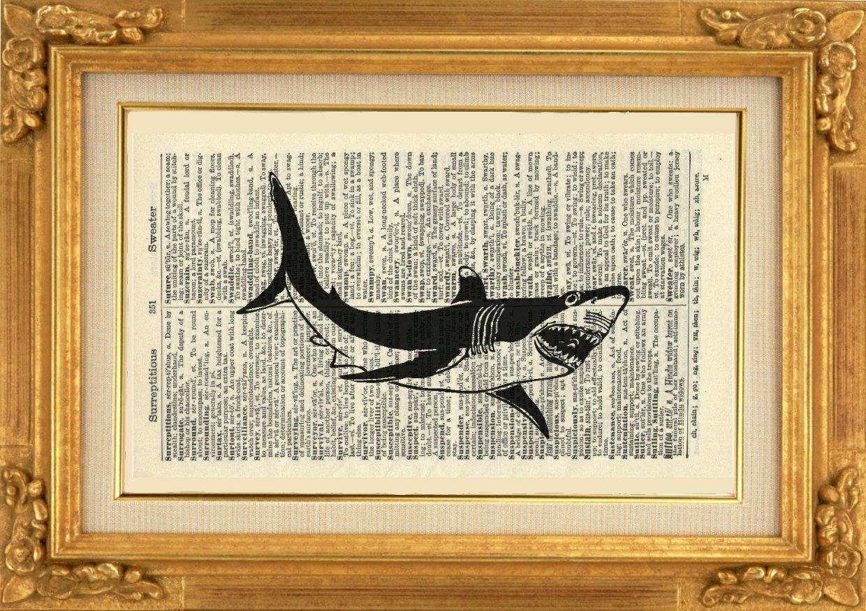 Sealife Artwork Wall Hanging Book Print 683B Nautical Illustration Animal Wall Art Vintage Art Print Bathroom Art Print Gift Shark Art Print Vintage Dictionary Art Print