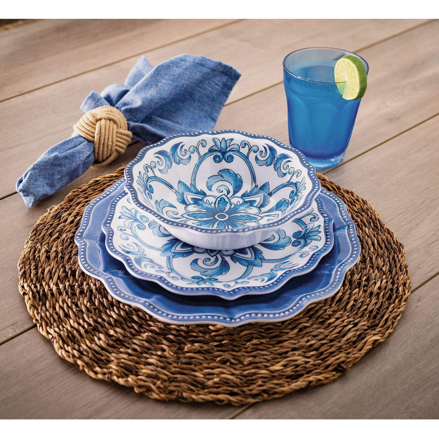 18 Piece Melamine Dinnerware Set Blue''French Country''