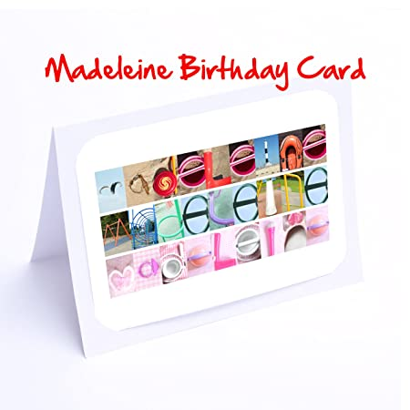 Girls Personalised Cards 7x5 MADELEINE Photo Birthday Card Or Greeting With FREE Delivery Amazoncouk Kitchen Home