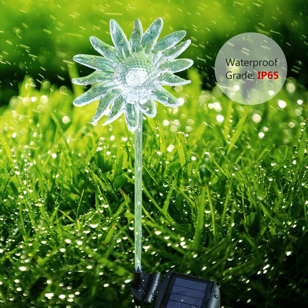 YUNLIGHTS 4pcs Solar Garden Lights Outdoor Garden Stake Lights Multi-Color Changing LED Solar Lights with Purple LED Light Stake for Garden Patio Backyard Decoration (Lotus,Dandelion,Lily,Sunflower) by YUNLIGHTS (Image #6)