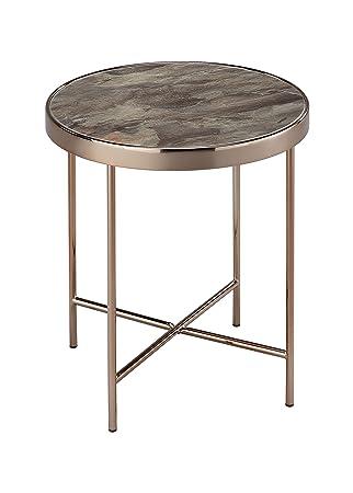 Aspect Table Basse Ronde Fino En Metal De Couleur Or Rose Et Verre