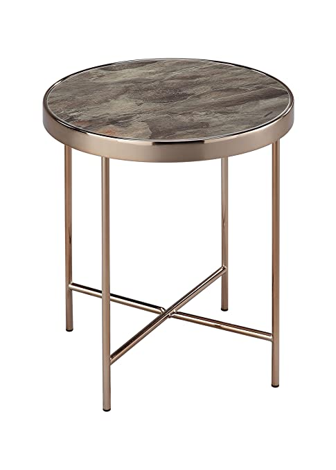 ASPECT - Table Basse Ronde Fino en métal de Couleur Or Rose et Verre à de  marbre Brun - 42,5 x 42,5 x 46 cm  Amazon.fr  Cuisine   Maison 2bb6ed0e279f