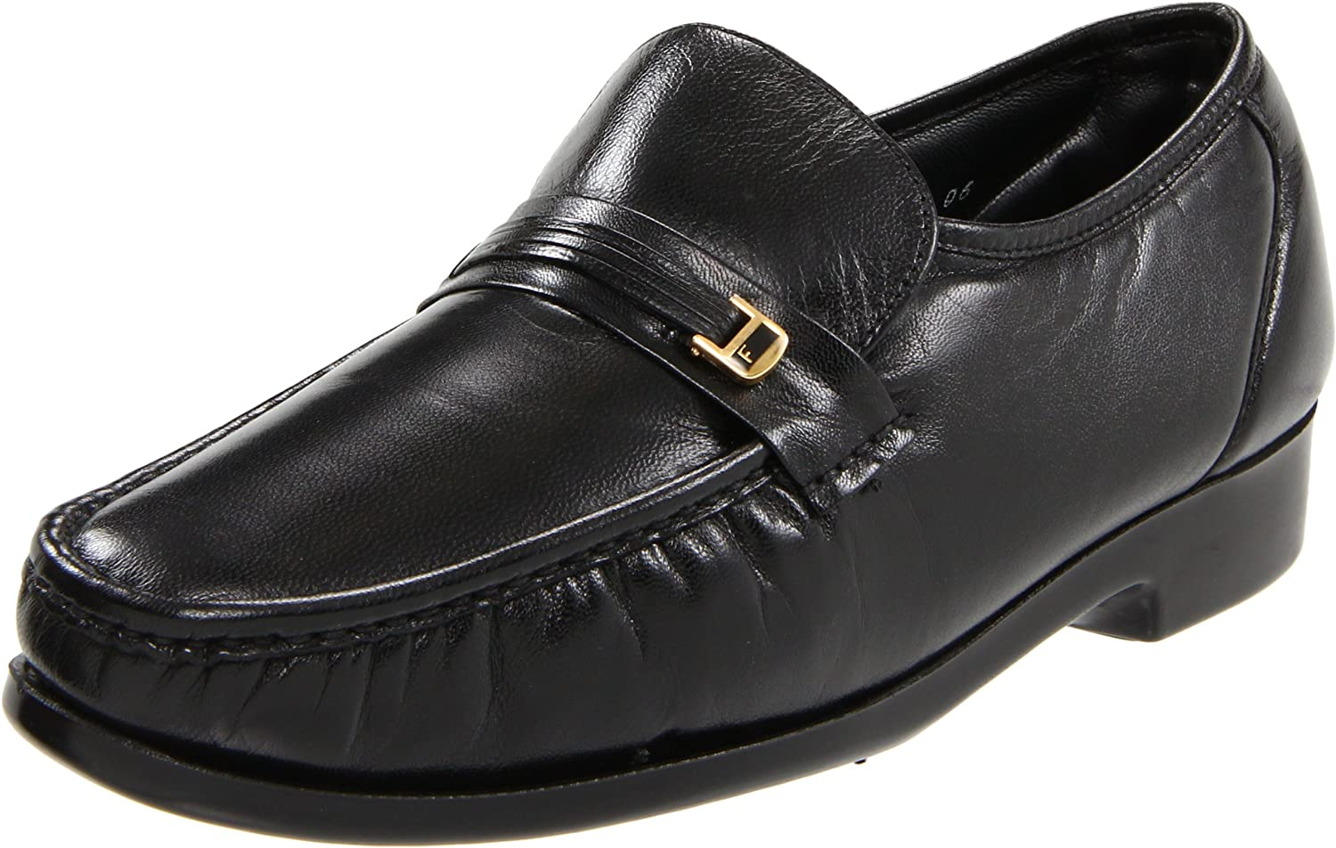 florsheim riva mens black leather slip on loafers business