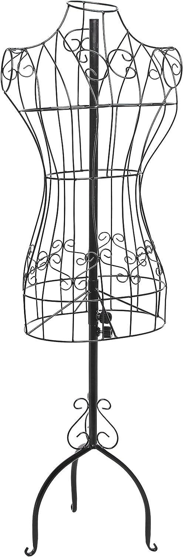 MyGift Designers Black Metal Adjustable Height Wire Frame Dress Form Display Stand