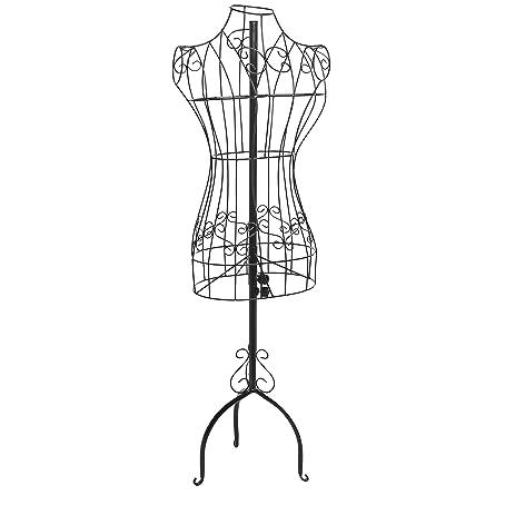 designers black metal adjustable height wire frame dress form display stand - Dress Frame