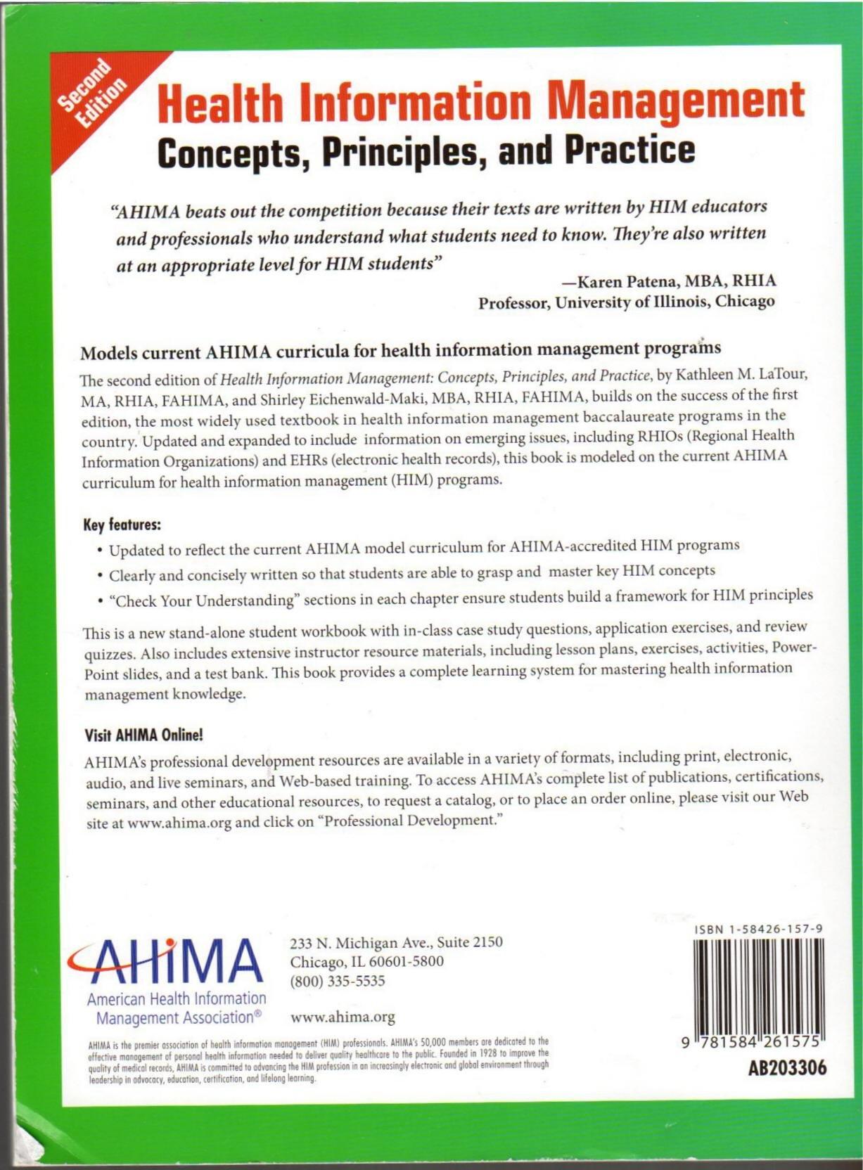 Health information management concept workbook 2nd 06 edition health information management concept workbook 2nd 06 edition kathleen m latour 9781584261575 amazon books xflitez Choice Image