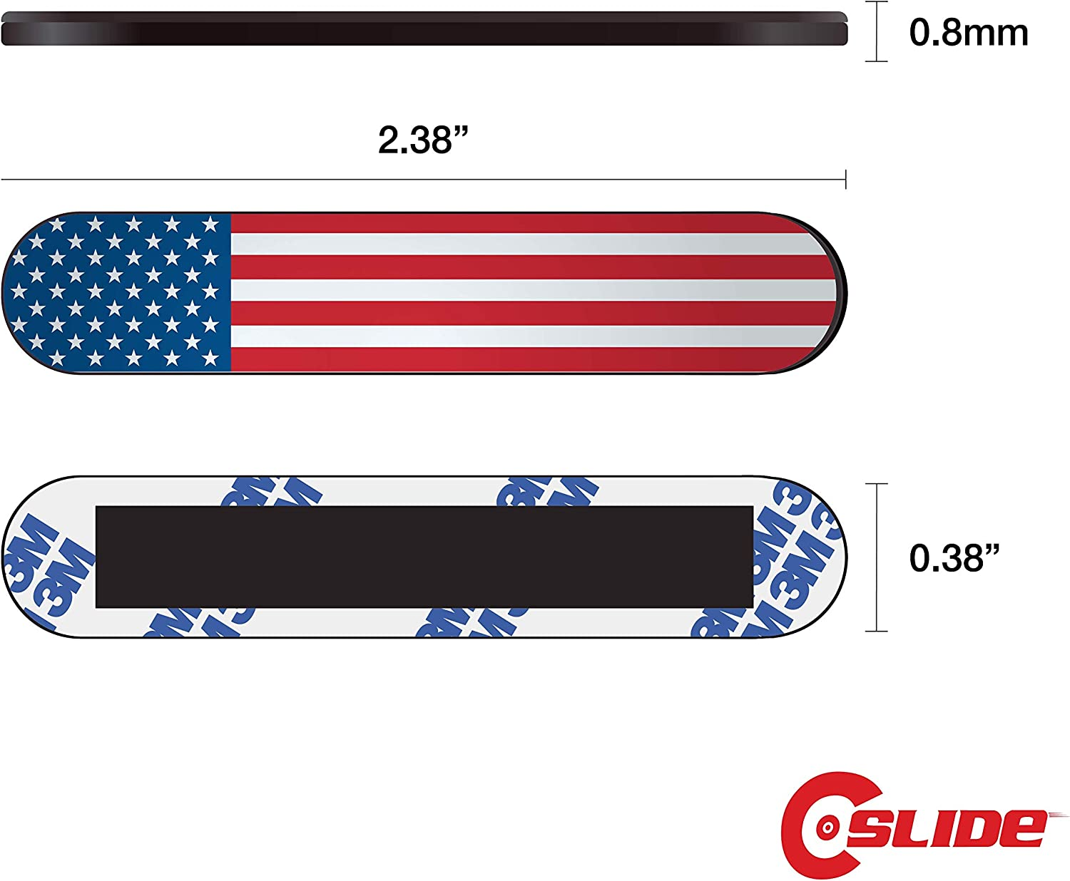 "C-Slide Webcam Cover - Razor Strip Thin Laptop Dual Cam Blocker, US Flag, 1.7"" x 0.37"" and 0.8 mm Thick – Double Camera Slide Blocker for Computer, Mac, Dell, Lenovo, Echo Show"