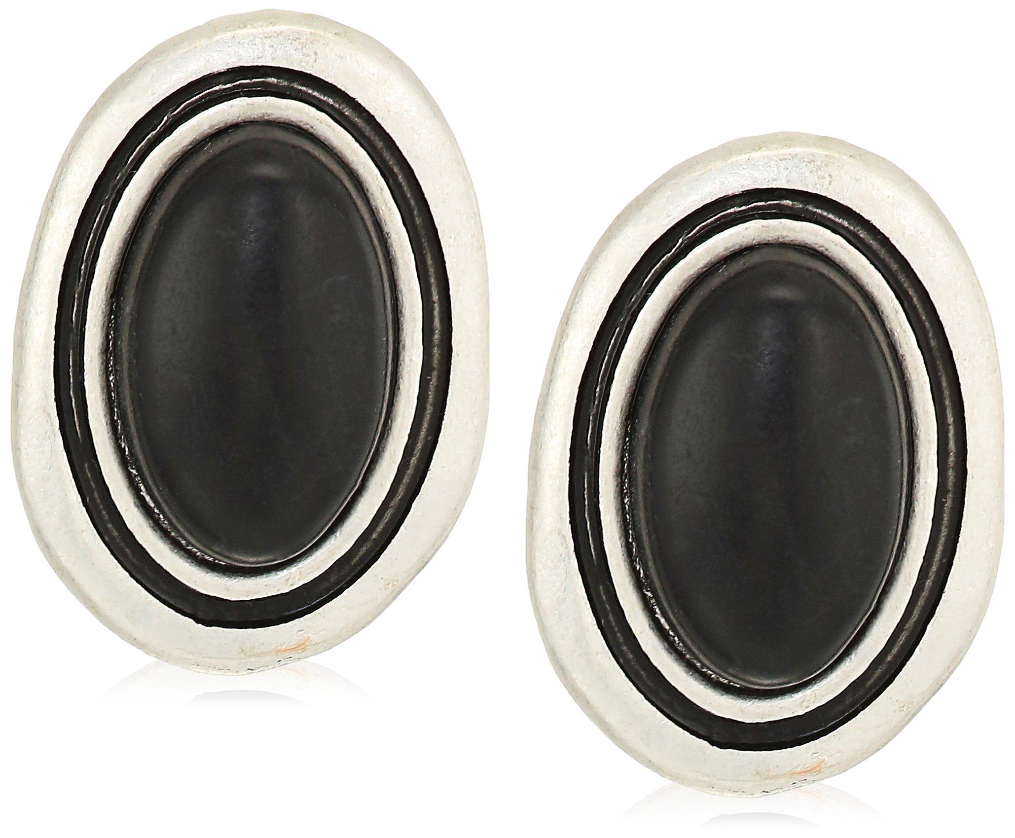 The SAK Women's Large Stone Stud Earrings, Color Black/Silver