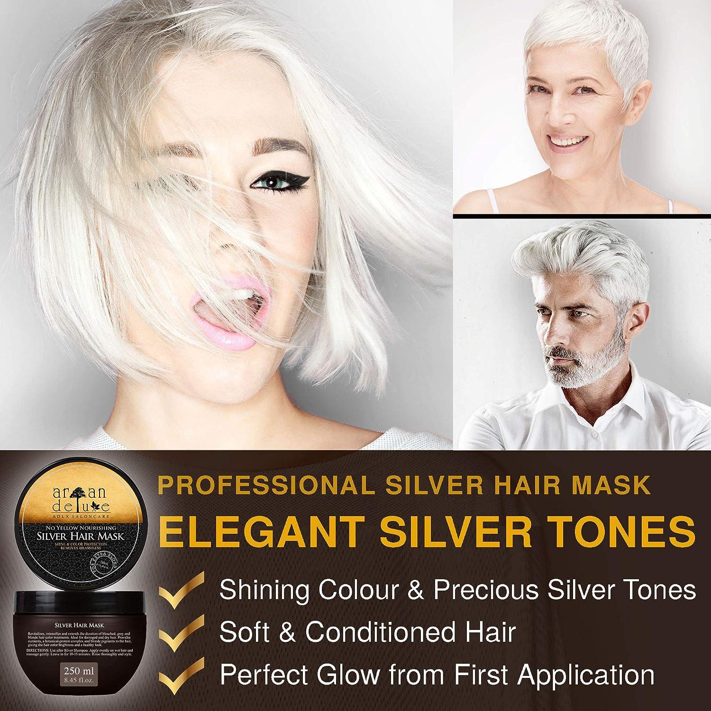 Mascarilla de plata Argan Deluxe de alto nivel, avalado para peluquerías 250 ml - tratamiento capilar para neutralizar tonos amarillos y obtener un ...