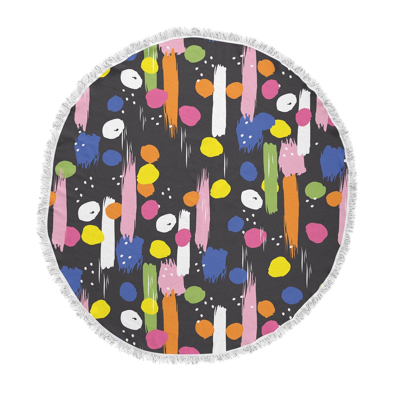 Kess InHouse Neelam Kaur Brushstrokes-Pantone Rev It Up Black Multicolor Illustration Round Beach Towel Blanket