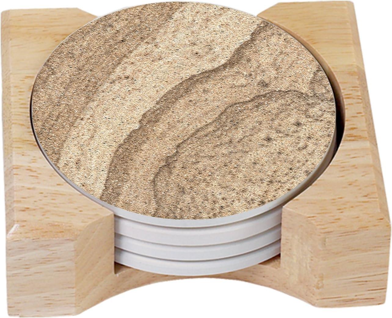 Counterart Absorbent Round Stone Coaster Set With Wooden Holder Sandstone Look Home Kitchen