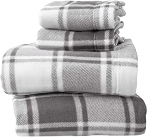 Super Soft Extra Plush Plaid Fleece Sheet Set. Cozy, Warm, Durable, Smooth, Breathable Winter Sheets with Plaid Pattern. Dara Collection by Great Bay Home Brand. (Twin XL, Grey)