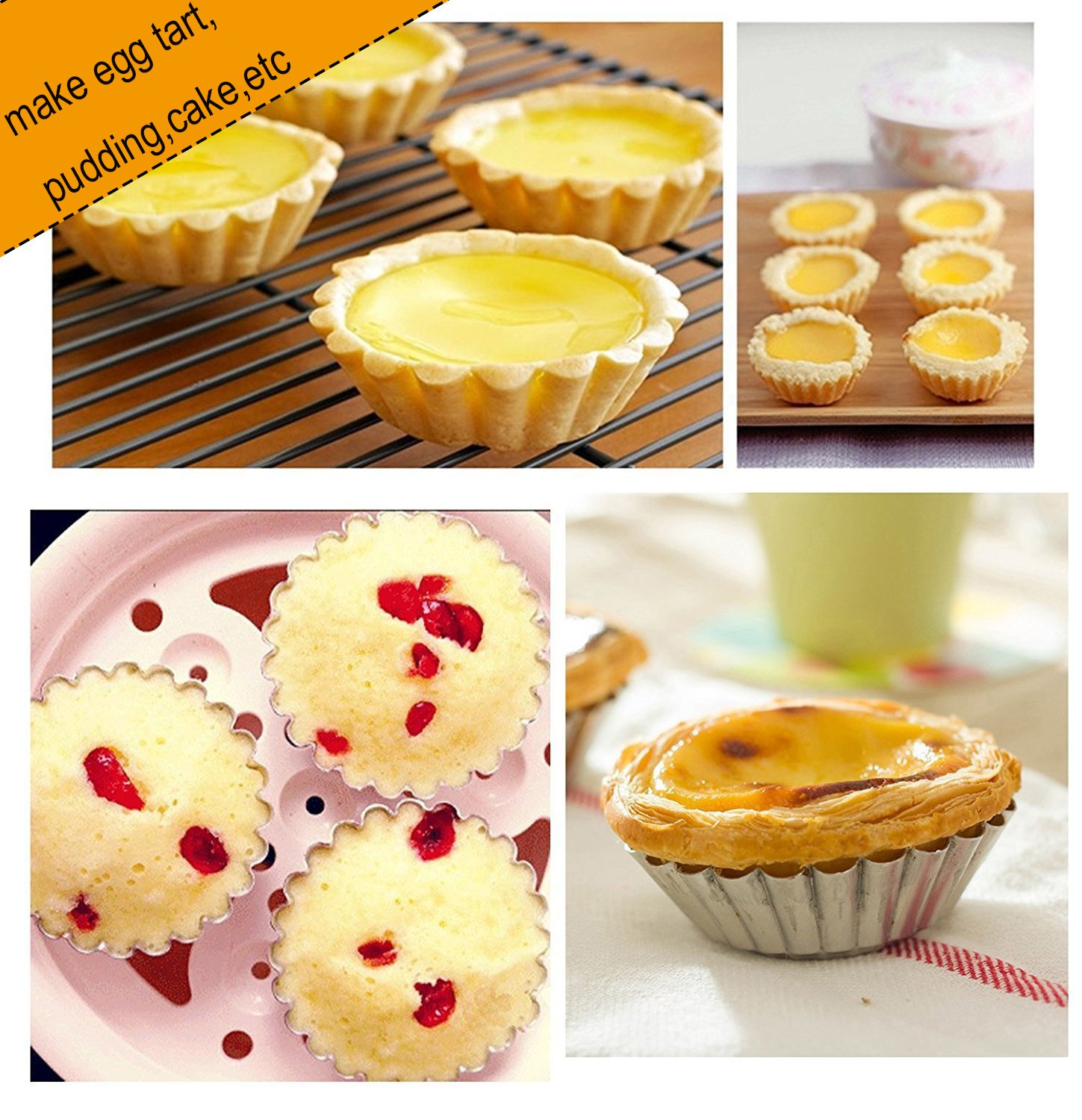 Egg Tart Mold Baking Cups Tins,50pcs Aluminum Mini Pie Pans Muffin Baking Cups Cupcake Cake Cookie Lined Mould Tin Baking Tool by Fashionclubs (Image #4)