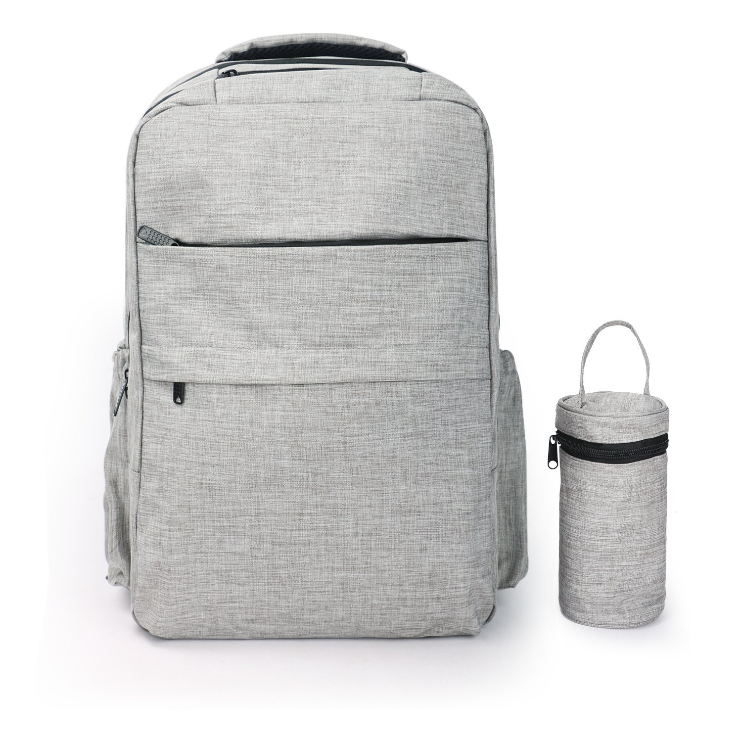 Amazon.com : Fitmyfavo Baby Diaper Bag Backpack Smart Organizer for Mom & Dads - Waterproof Nappy Bag with Changing Pad (Grey w/ bottle case) : Baby