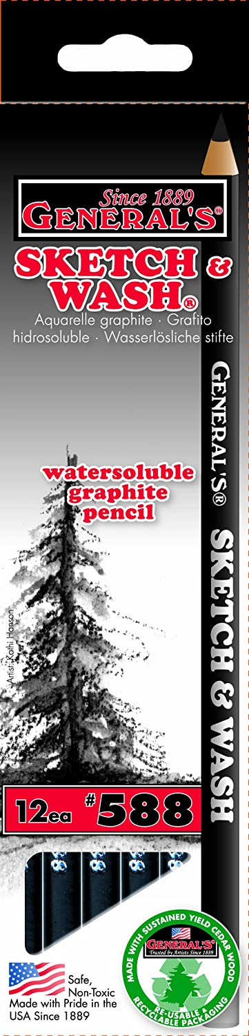 General Pencil 588GP Sketch and Wash Pencils,Graphite, 12-Pack