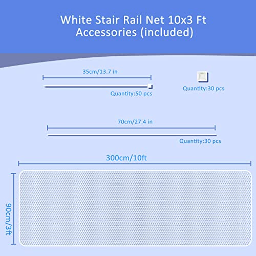 Stair Rail Net for Baby Safety, Balcony Guard for Child Proofing, Banister Guard Mesh for Pets Indoor White, L10xW3 Ft