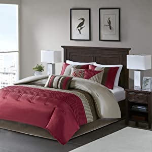 Madison Park Amherst Queen Size Bed Comforter Set Bed in A Bag - Burgundy, Taupe, Pieced Stripes – 7 Pieces Bedding Sets – Ultra Soft Microfiber Bedroom Comforters