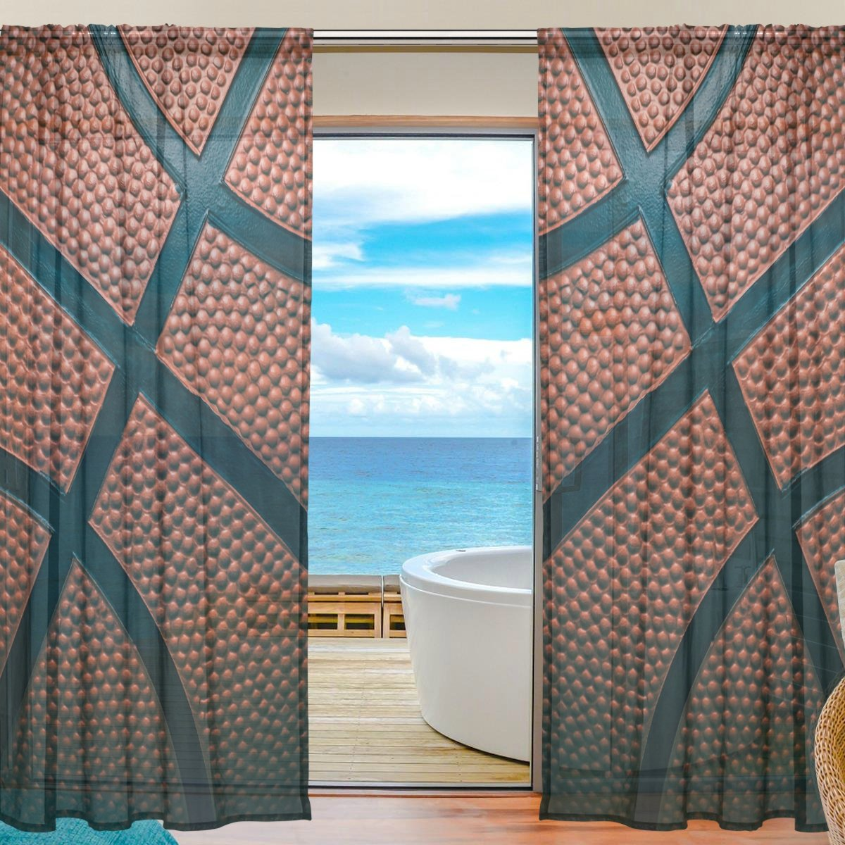 SEULIFE Window Sheer Curtain, Sport Basketball Voile Curtain Drapes for Door Kitchen Living Room Bedroom 55x78 inches 2 Panels g4498047p112c126s167