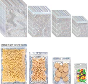100 PCS Reusable Mylar Bags ,Smell Proof Bags with Ziplock and Clear Window, for Candy and Food Packaging, Food Self Sealing Storage Supplie (Star, Holographic)