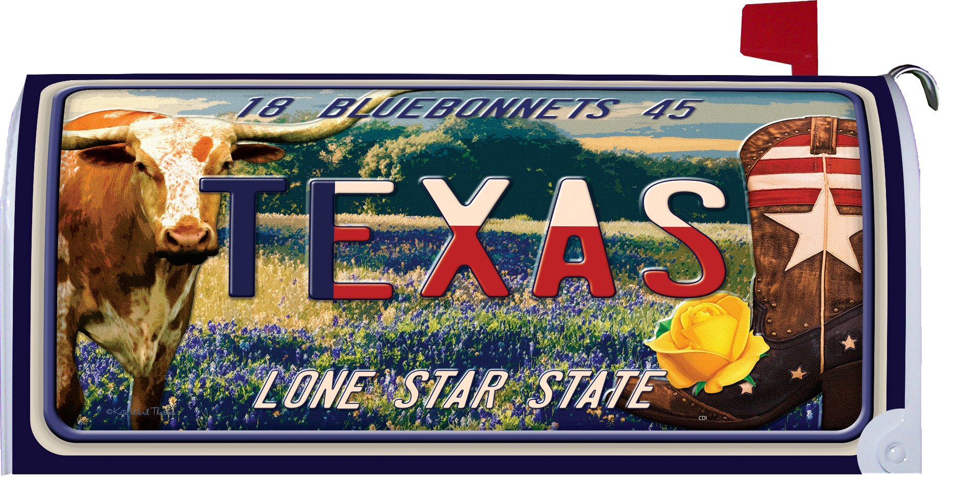 Texas - Great Escapes - Mailbox Makover Cover - Vinyl witn Magnetic Strips for Steel Standard Rural Mailbox - Copyright, Licensed and Trademarked by Custom Decor Inc.
